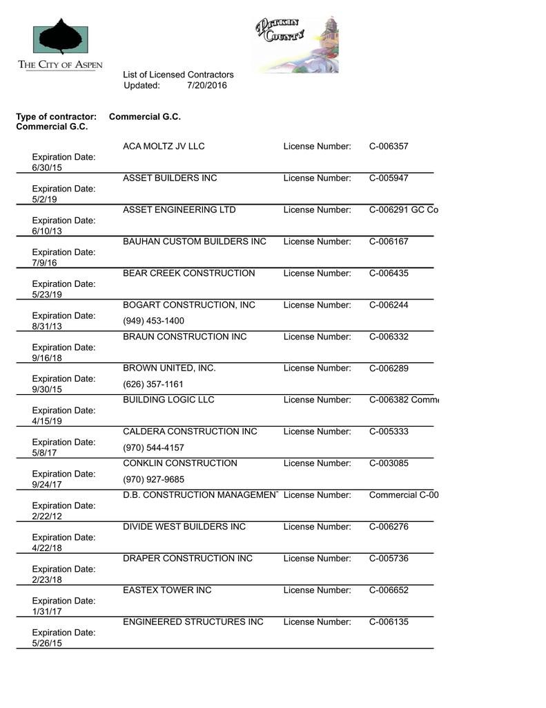 List of Licensed Contractors