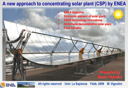 ENEA activities on thermodynamic solar plant (CSP)