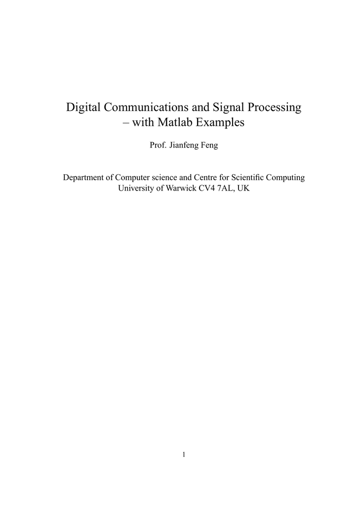 Digital Communications and Signal Processing – with Matlab
