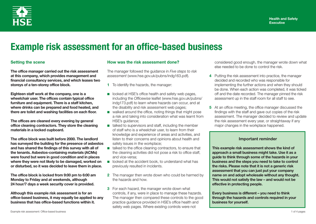 Example risk assessment: Office based business