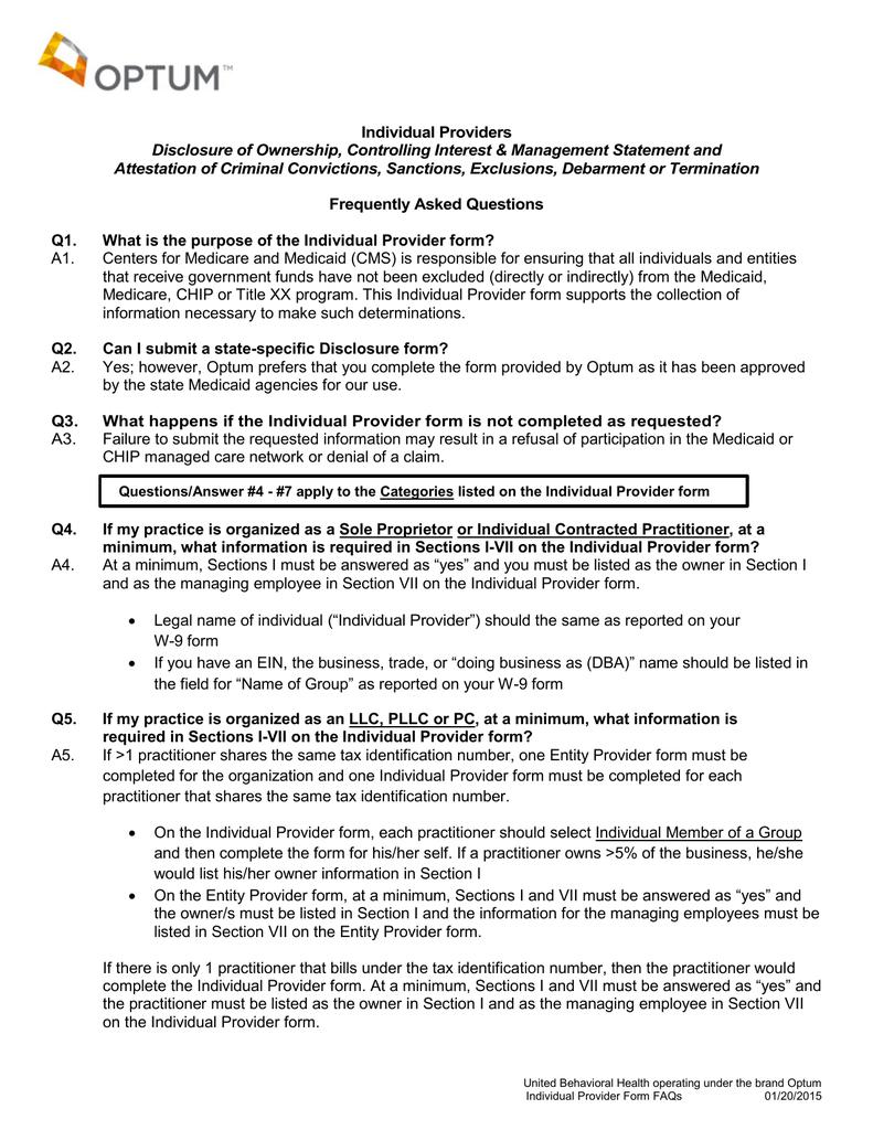 Disclosure of Ownership Form FAQ