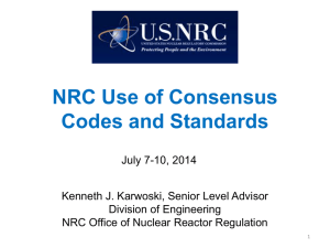 NRC Use of Consensus Codes and Standards