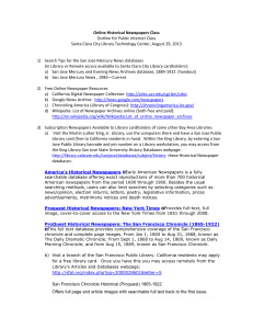 Online Historical Newspapers Class Outline for Public Internet Class