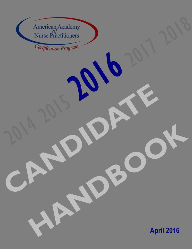 Candidate handbook the american academy of nurse malvernweather Choice Image