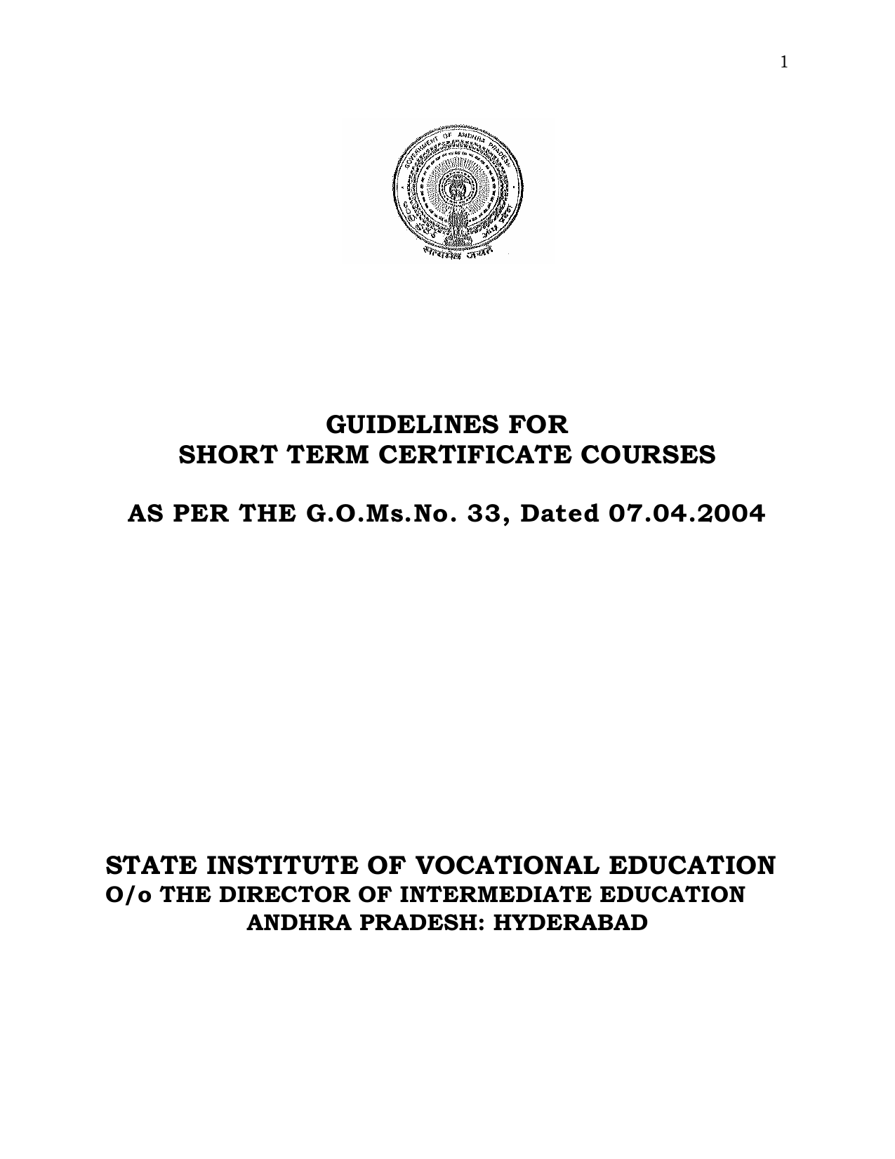 Guidelines For Short Term Certificate Courses State Institute Of