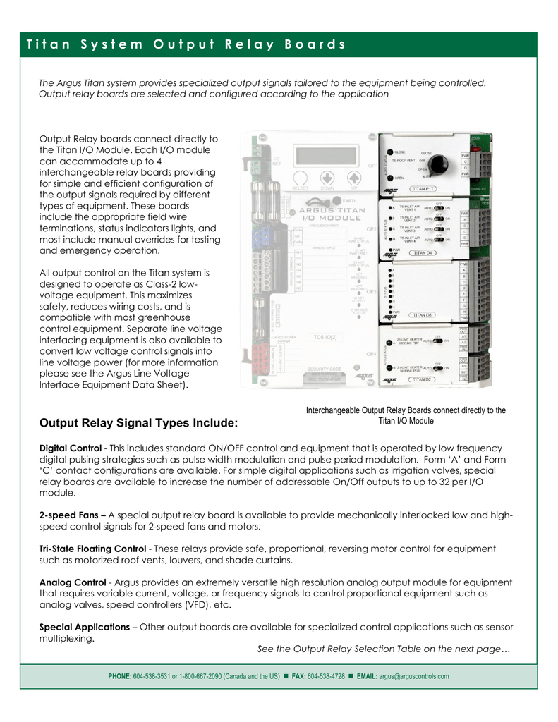 Output Relay Boards Comparison Sheet Wiring Board