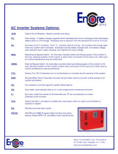 AC Inverter Systems Options: