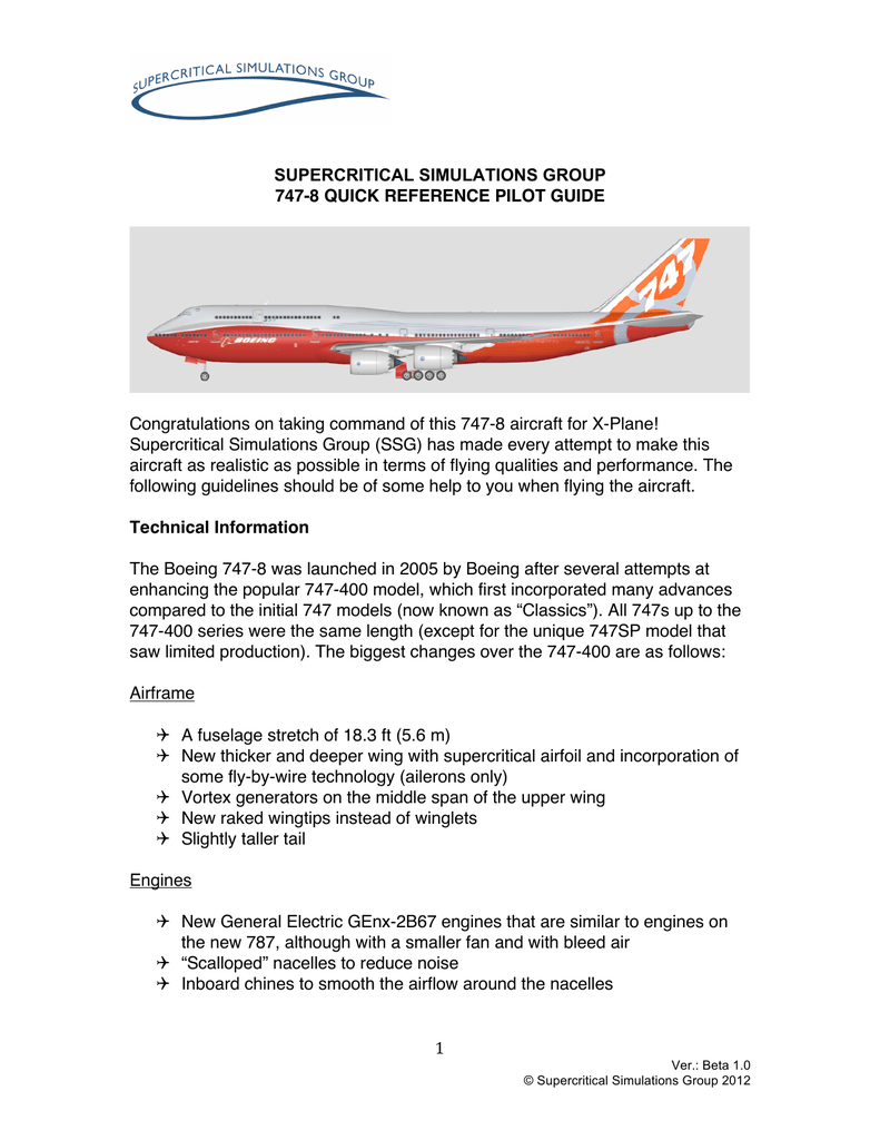 747- 8 Quick Reference - Supercritical   747