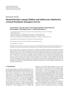 Research Article Mental Disorders among Children and