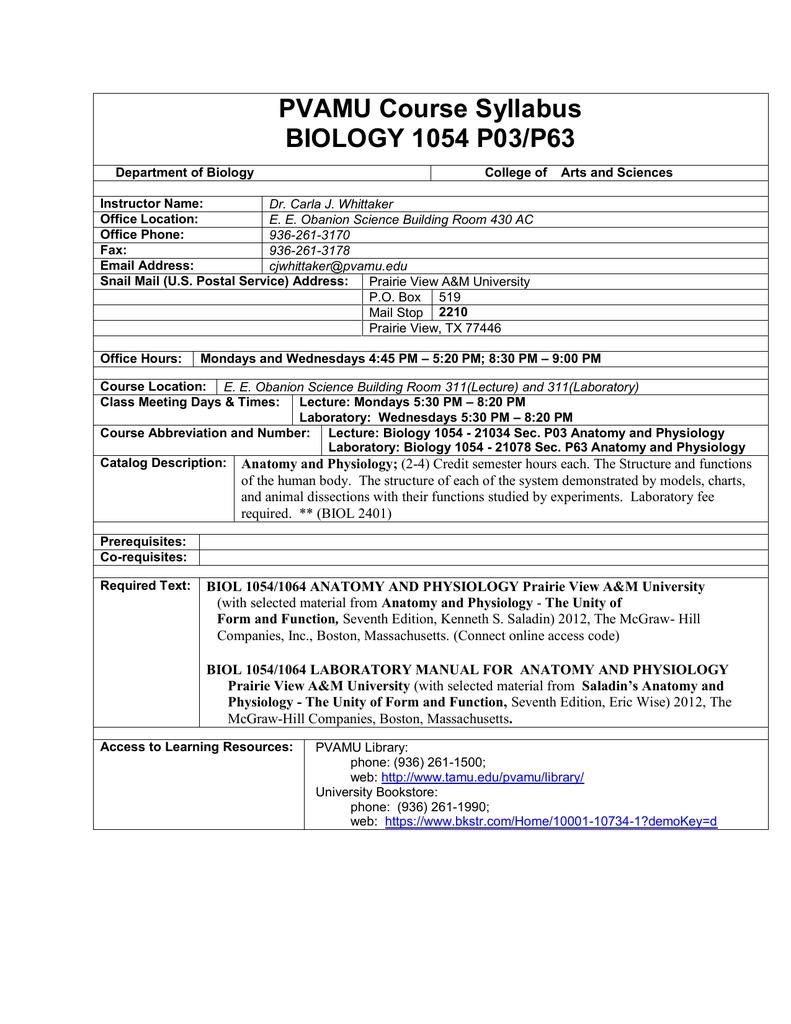 PVAMU Course Syllabus BIOLOGY 1054 P03/P63