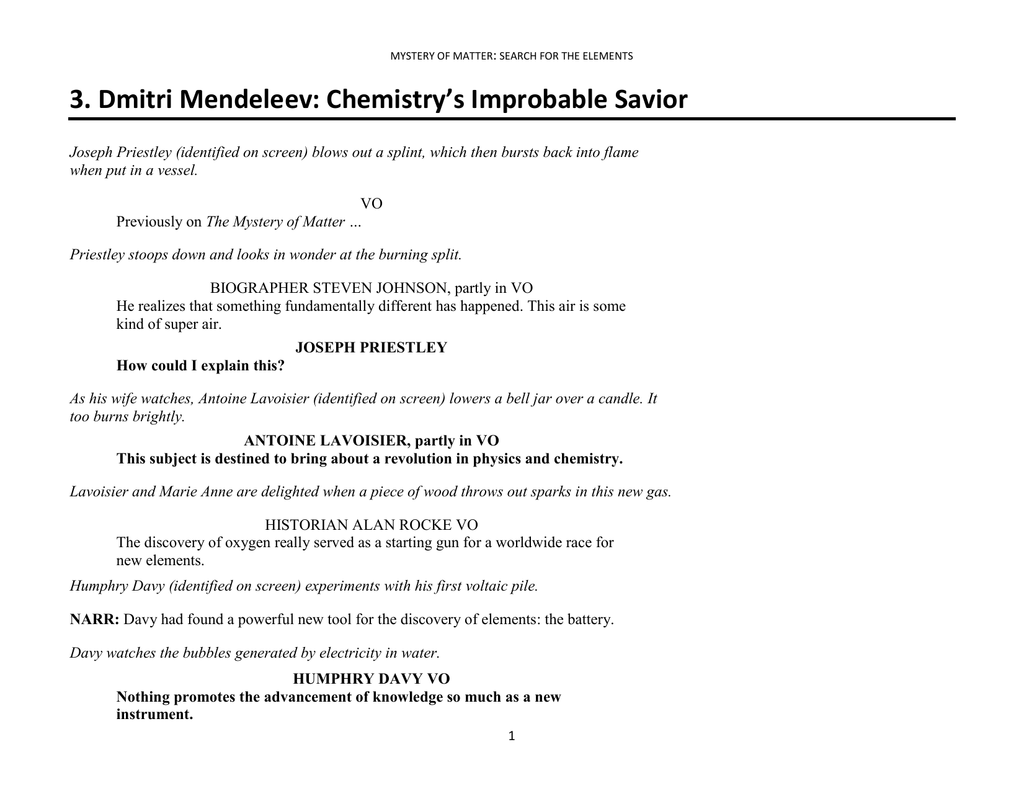Section 3 Dmitri Mendeleev The Periodic Table