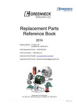 Replacement Parts Reference Book