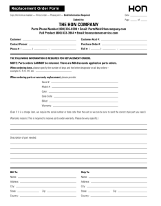 Parts Replacement Form