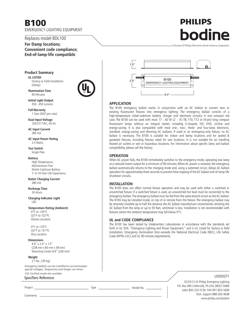 Bodine B70a Emergency Ballast Wiring Diagram B50st Lighting Equipment Rh Studylib Net B50 Electronic
