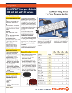 QUICKTRONIC® Emergency Ballasts 300, 550, 650, and 1400