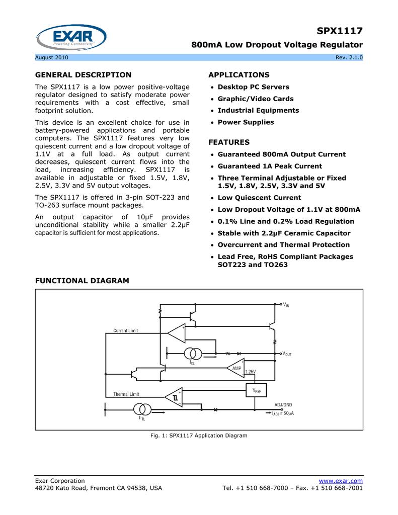 10 PCS SPX1117M3-ADJ SOT-223 1117M3 800mA Low Dropout Regulator