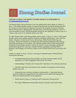 VOLUME 13, ISSUE 1 OF HMONG STUDIES JOURNAL IS