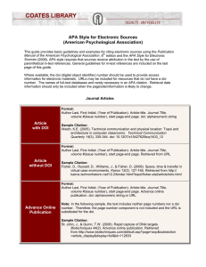 APA Style for Electronic Sources