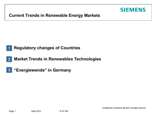 Current Trends in Renewable Energy Markets Regulatory changes