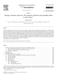 Energy resources and use: The present situation and