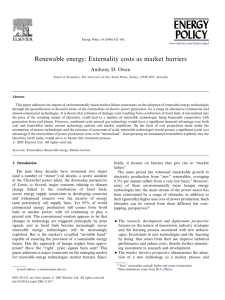 Renewable energy: Externality costs as market barriers