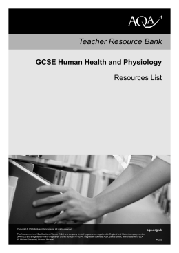 GCSE Human Health and Physiology Resource list Resource