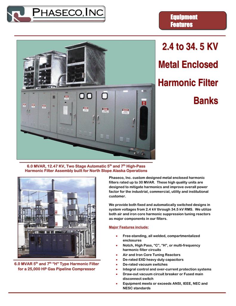 2 4 to 34  5 KV Metal Enclosed Harmonic Filter Banks