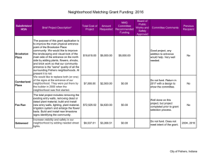 2016 - NMG FUNDING SUMMARY - Neighborhood Matching Grant