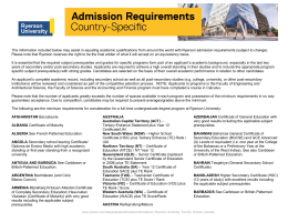 Country-Specific Admission Requirements