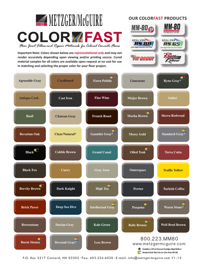 Color chart metzger mcguire nvjuhfo Gallery