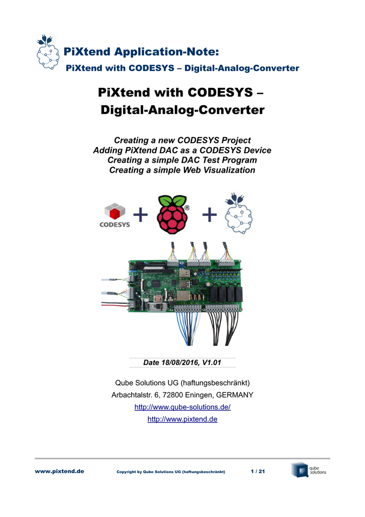 App-Note: PiXtend with CODESYS – Digital-Analog