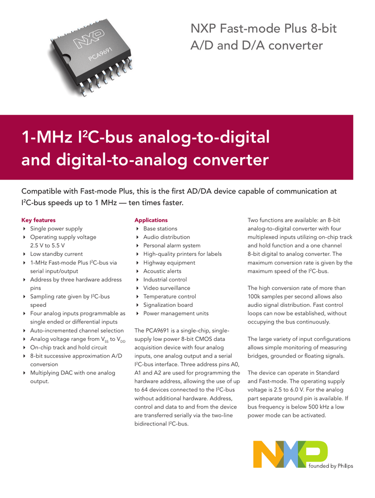 1-MHz I2C-bus analog-to-digital and digital-to-analog converter