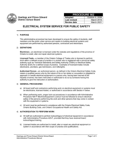 electrical system service for public safety procedure 562