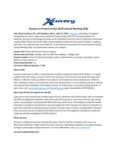 Xcovery to Present at the AACR Annual Meeting 2016