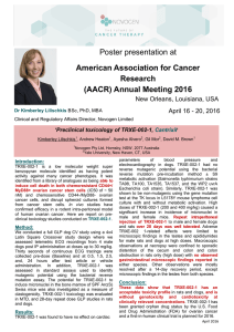 Poster presentation at American Association for Cancer Research