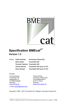 Specification BMEcat