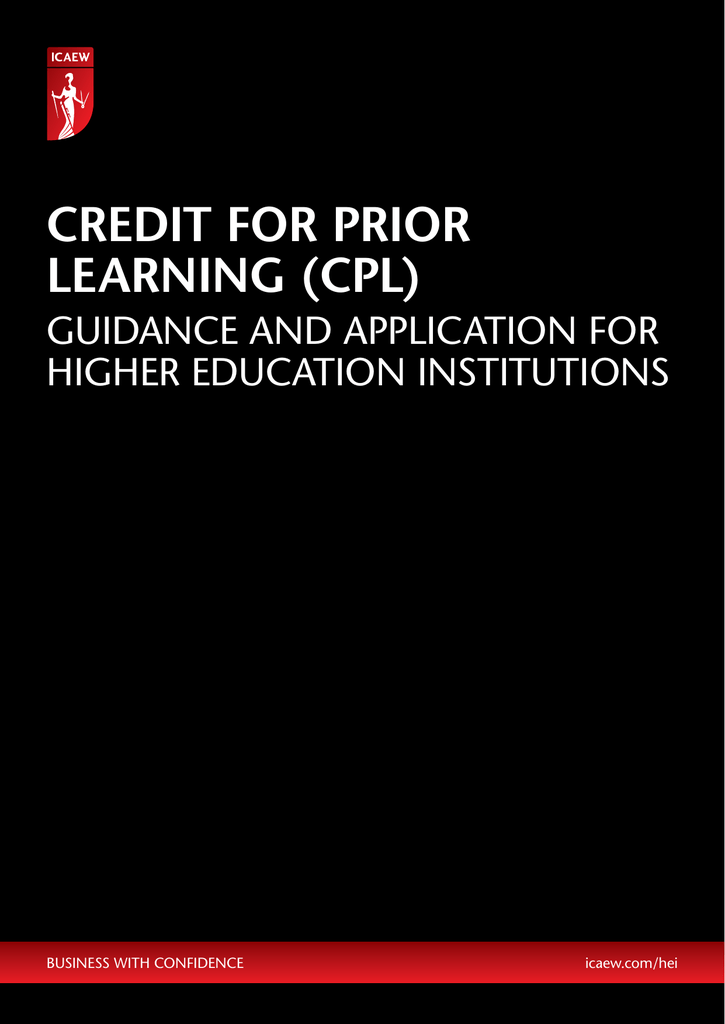 Credit for Prior Learning (CPL)