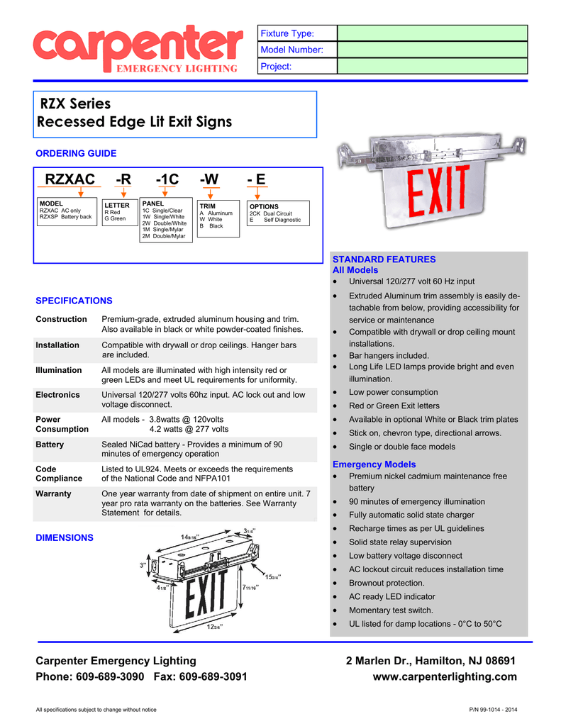 Rzx Recessed Edge Lit Sign Carpenter Emergency Lighting Low Battery Indicator Circuits