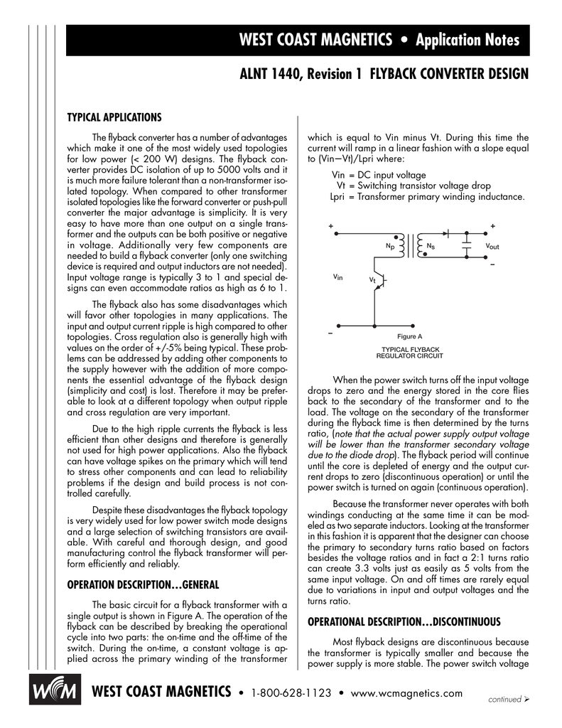 Flyback transformer application note