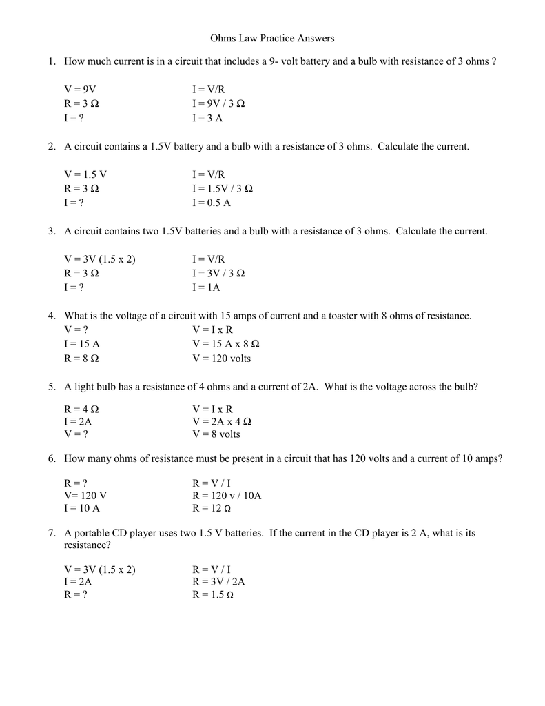 Ohms Law Practice Answers 1 How Much Current Is In A Circuit That Amps Series