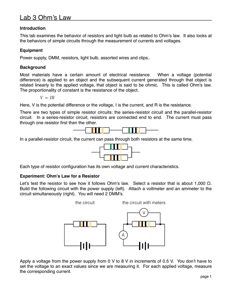 P2b Lab 3 Ohms Lawpages Electrical Resistance And Resistors
