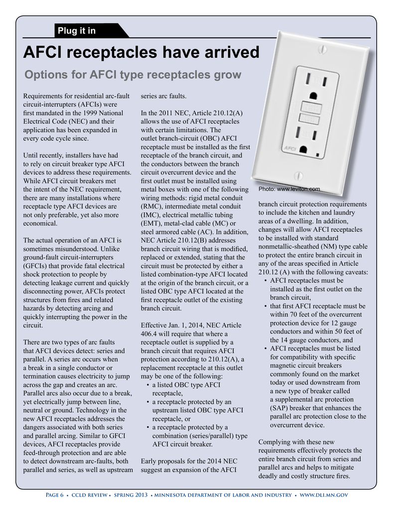 Afci Electrical Outlets Arc Fault Circuit Breaker Wiring Diagram On Multiple Lights To