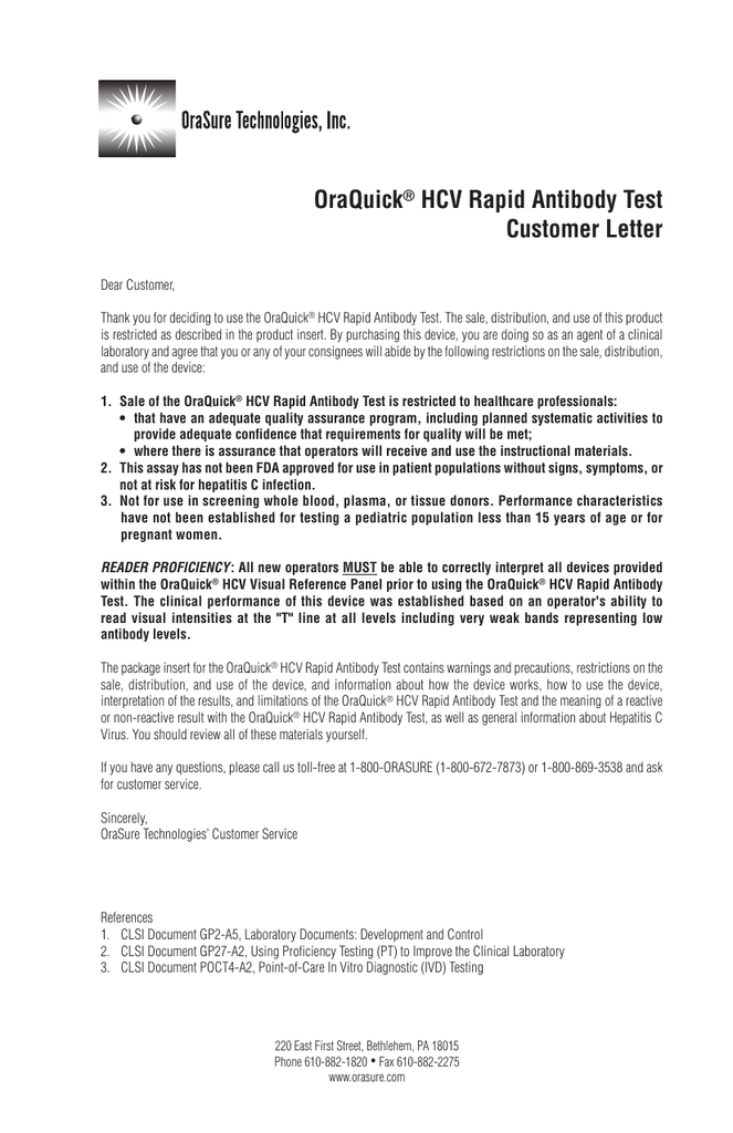 OraQuick® HCV Rapid Antibody Test Customer Letter