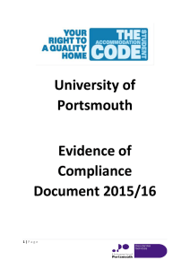 University of Portsmouth Evidence of Compliance Document 2015/16