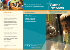 Placed Teachers brochure - Catholic Education Melbourne