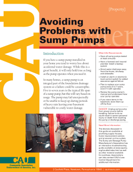 Problems With Sump Pumps - Community Association Underwriters