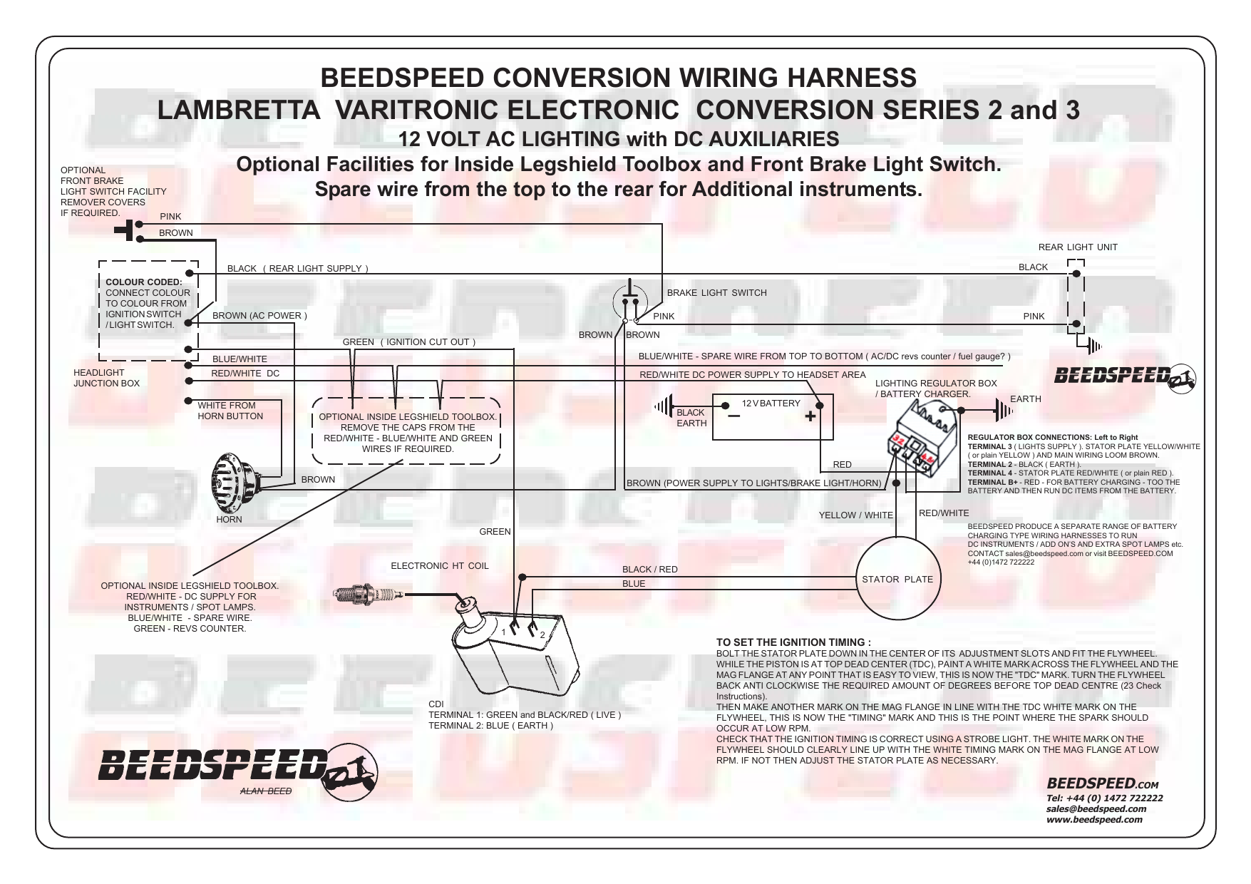 beedspeed conversion wiring harness lambretta rh studylib net 3 Wire Headlight Wiring Diagram Motorcycle Headlight Wiring Diagram