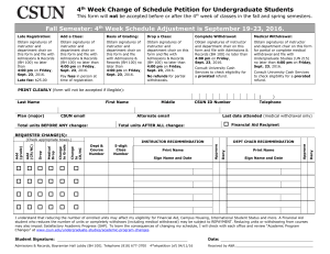 4th Week Change of Schedule Petitin for Undergraduate Students