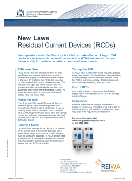 RCD Residual Current Devices - New Laws