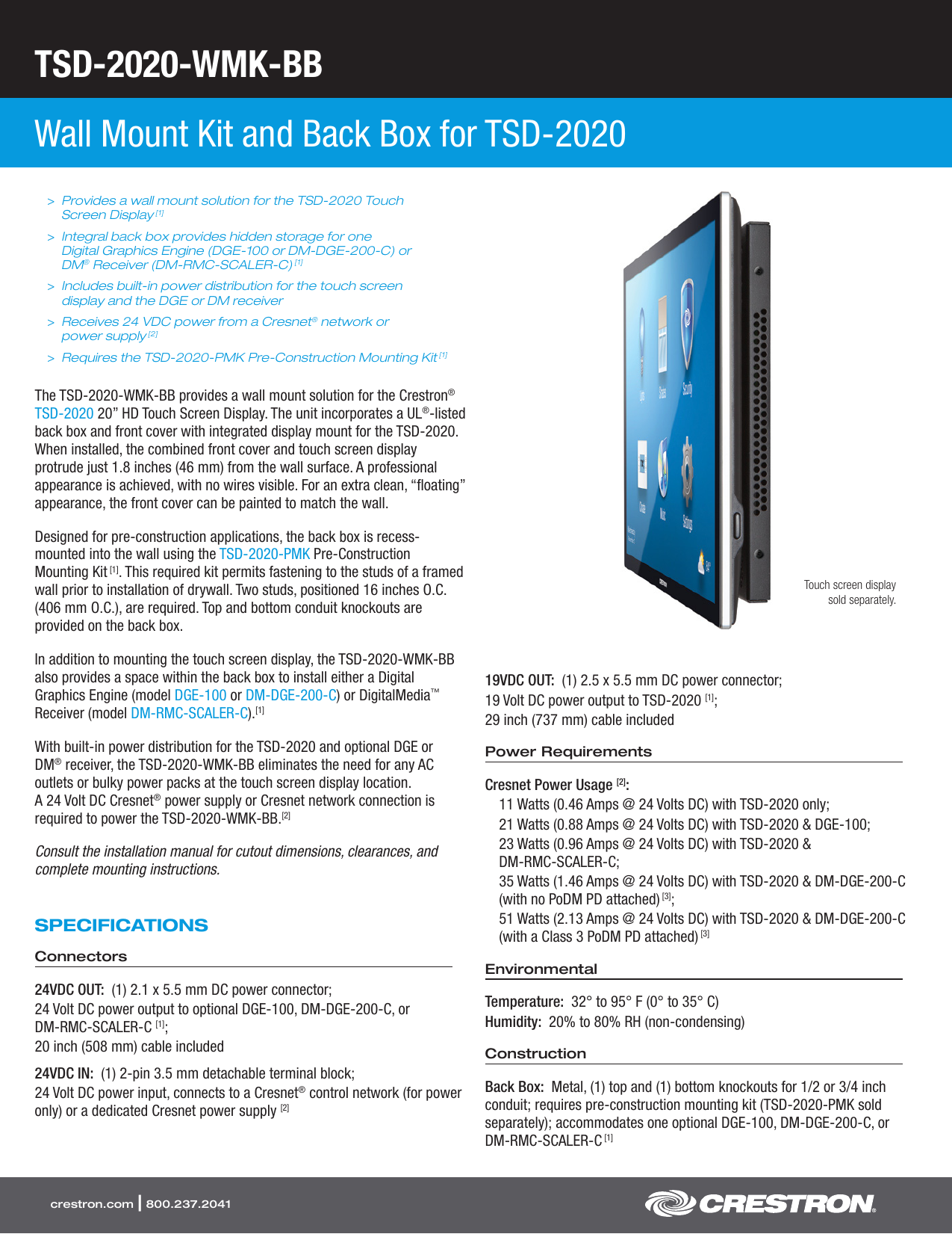 Product Specifications: TSD-2020-WMK-BB
